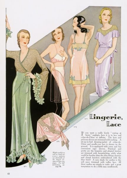 Lovely lace lingerie. A sit up in bed dressing jacket with rose design detailing, pleated knickers and a slim fitting chemise and closed knickers embroidered with a blue bird design. (see also 10136229)