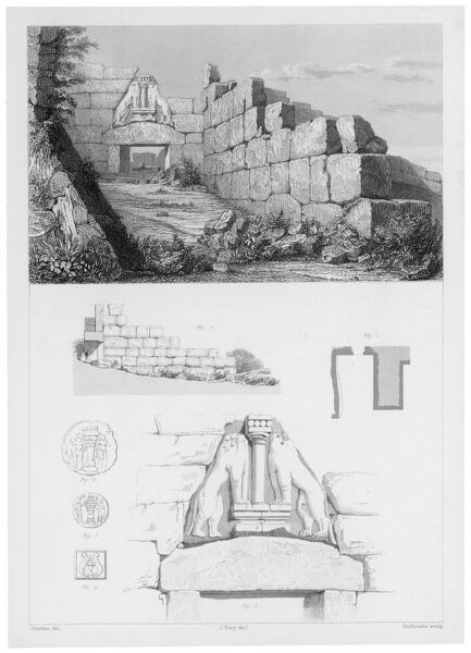 The Lion Gate at Mycenae represents the earliest large relief structure on the Greek mainland. The carvings were placed into an open triangle left by the corbelled blocks. Date: 1855