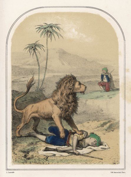 A lion, with its paw on one Arab hunter, confronts his companion who prepares to attack him with a spear