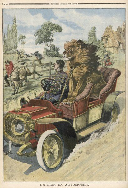 A lion-tamer takes one of his menage for a car-ride to show it the sights of Dusseldorf, but the police are not amused and fine him for endangering the populace