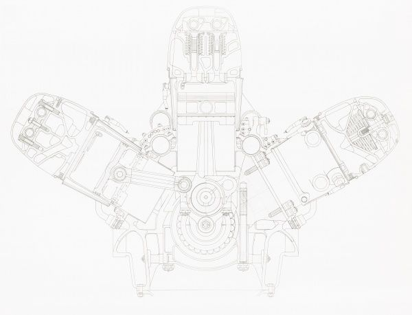 Lion VIID engine, engineering drawing cross section Date