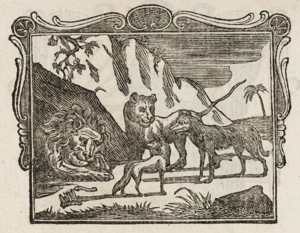 THE SICK LION, THE FOX & THE WOLF: the animals pay the lion respects, except the fox; slandered by the wolf, the fox tells the lion his cure lies in the flaying of the wolf