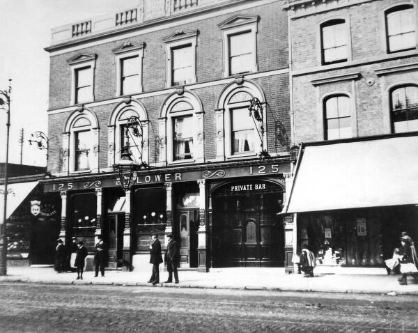 'The Little Driver' public house, Bow Road, east London. Date: early 1900s