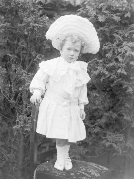 A little Edwardian girl standing on a chair in a garden, Mid Wales, wearing a huge white hat, a white dress, and white socks and shoes. Her hair is in blond ringlets