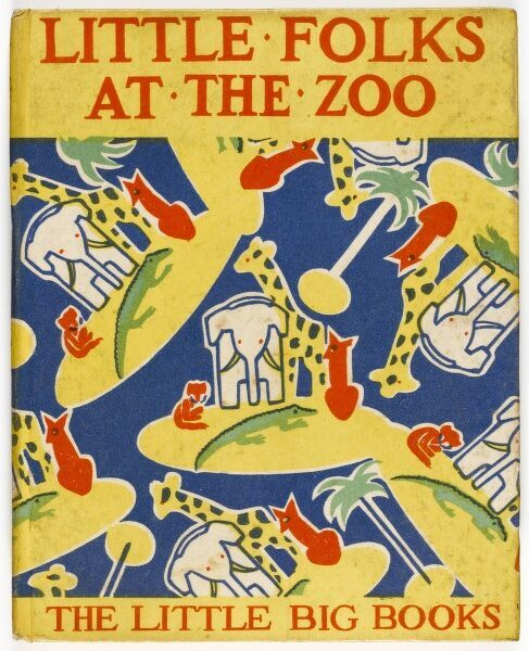 Bold, colour front cover design of a 1920s children's book depicting a pattern of giraffes, elephants and other zoo animals