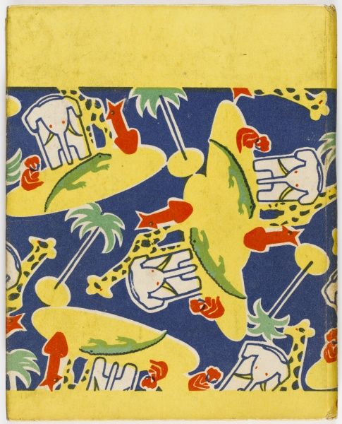 Bold patterned design on the back cover of a 1920s children's book featuring elephants, palm trees, giraffes and other animals