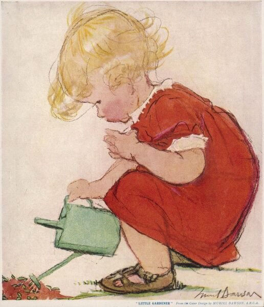 A little blonde girl in a red dress waters her seedlings with a small watering can