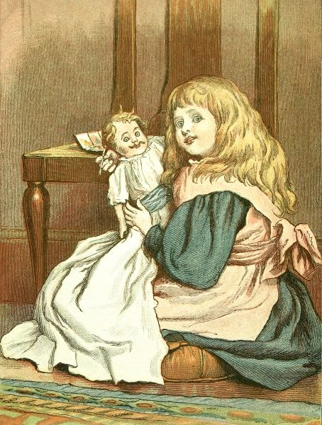 Illustration showing a little Victorian girl playing with her baby doll. This image was originally entitled 'Just the image of his dear pa' and was part of a collection of sketches by Emily Lees called 'Little Mothers&#39