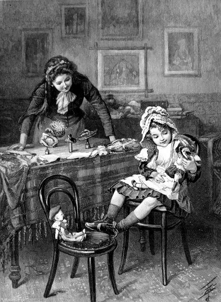 Engraving showing a little girl playing at a table with her dolls and her mother acting the part of shopkeeper, selling miniature hats