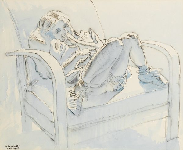 Study of a little girl sitting in a chair