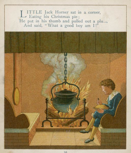Little Jack Horner sits in a corner eating his Christmas pie, while a huge pot boils on the open fire beside him
