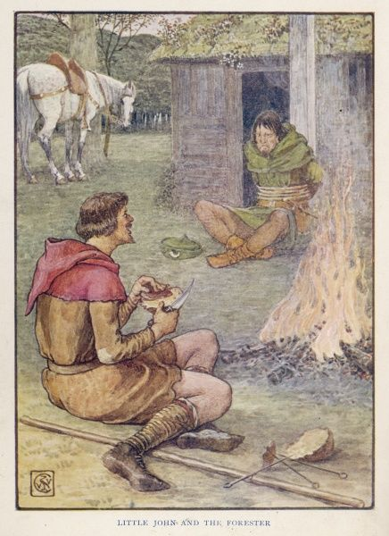 Having bound the Forester and stolen his dinner, Little John eats it in front of him around a roaring fire