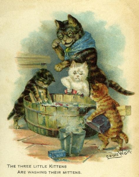 Three Little Kittens Are Washing Their Mittens. Artist: Louis Wain. Traditional nursery rhyme Date: circa 1905