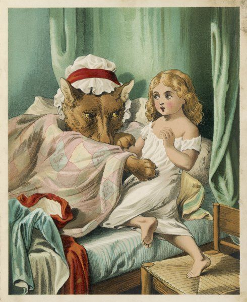 The wicked wolf disguises himself as Red Riding Hood's grandmother and asks her to get into bed with him