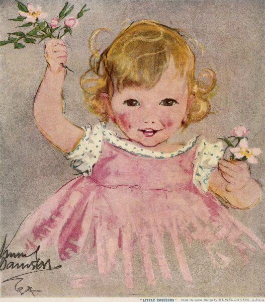 A jolly little girl wearing a pink dress picks tiny pink rosebuds from a hanging branch