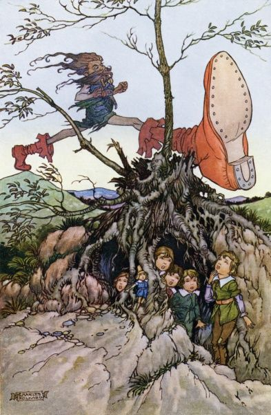 Little Thumbling (Thumbelina) by Charles Folkard. 'They saw the ogre striding from hill to hill'. A fairy tale by Charles Perrault