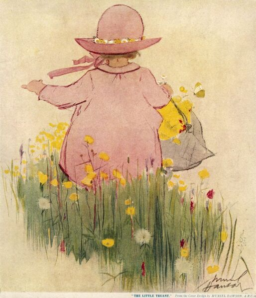 Back view of a little girl in a pink dress and hat, striding off through a field of flowers holding a basket