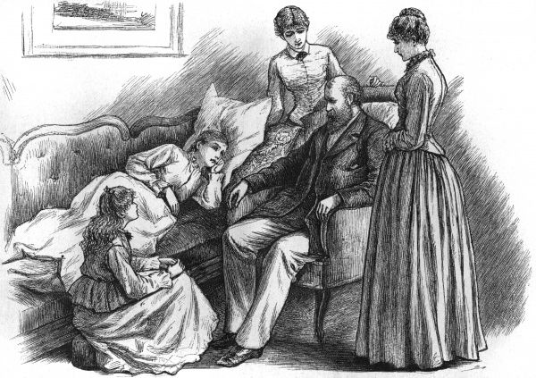 Meg, Jo, Amy & Beth sit with their father. Date: First published: 1868