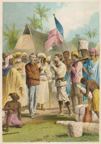 Dr Livingstone is found by H M Stanley at Ujiji - 'Dr Livingstone, I presume ?&#39