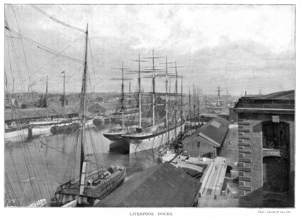 Scene at Liverpool Docks showing sailing ships and salthouse