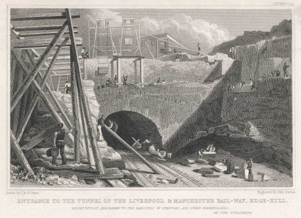 Building the Liverpool & Manchester Rail-Way ; entrance to the tunnel at Edge-Hill