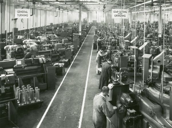 Liverpool works, general turning line on the left, gear cutting and grinding on the right Date