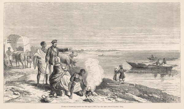 David Livingstone and his family on the shore of Lake Ngami