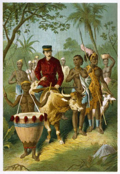 Livingstone is escorted to Shinte's Town riding on the back of a cow Date: 1857