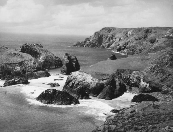 A glimpse of the rugged coastline at Kynance Cove, on the Lizard Penninsula, Cornwall, England