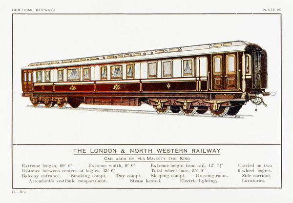 Royal coach of the London and North Western Railway. Date: circa 1910