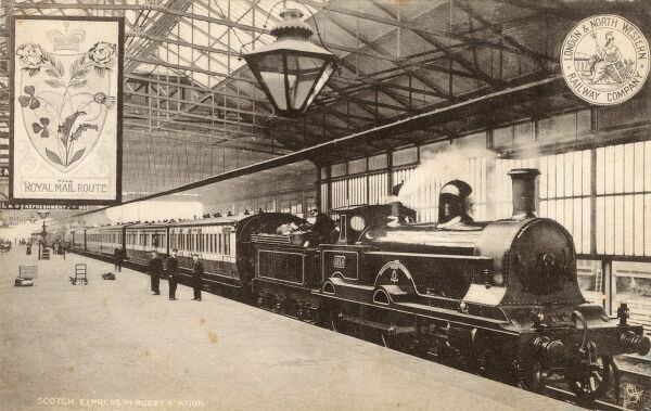 London and North Western Railway Company - The Scotch Express at Rugby Station. The locomtive is the 'Invincible'. Date: 1904