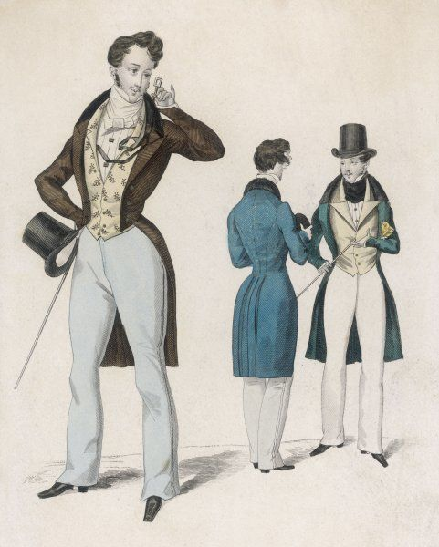 Embroidered waistcoat, S-B cut-away coat with velvet collar, grey trousers with decorative side seam, square quizzing glass. Front & rear view of a frock coat