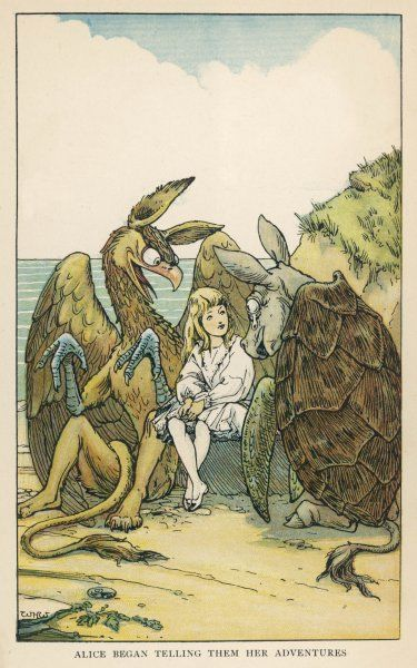 The Lobster Quadrille : Alice dances with the Mock Turtle and the Gryphon