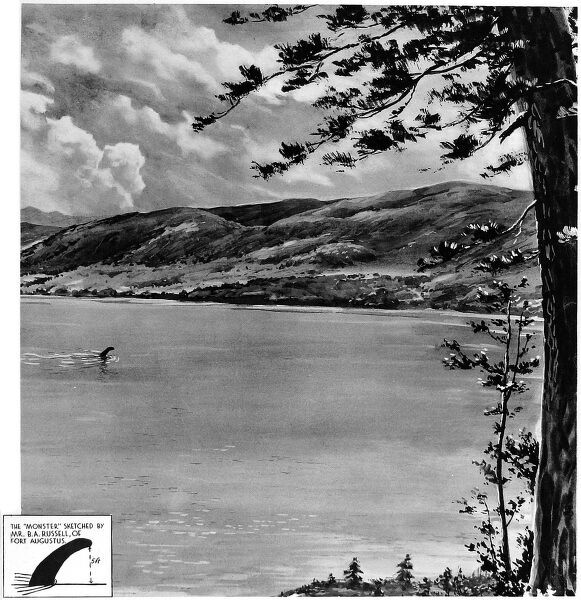 Front cover of the Illustrated London News showing an illustration by ILN artist, G. H Davis, made after he was sent to Loch Ness to record the evidence given by a number of people who claimed to have seen the monster