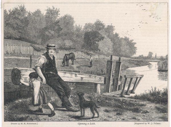 A lock on the Thames is opened by a man and small child to let through an approaching barge pulled by a horse on the river bank