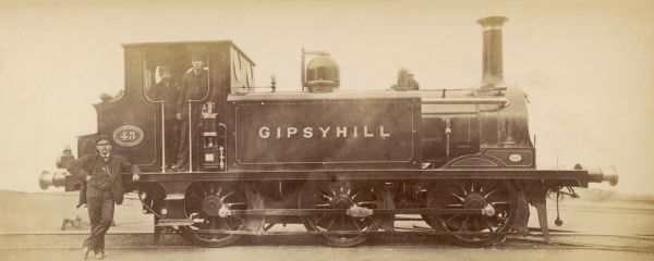 The crew pose beside the London, Brighton and South Coast Railway's tank locomotive 'Gipsy Hill&#39