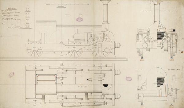 Locomotive engine, 5 foot 9 inch driving wheel, plan, side elevation, half elevations and sections Date