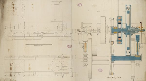 Locomotive engine, 6 foot 6 inch driving wheel, plan, side elevation and cross sections 15 May 1849 Date: 1849