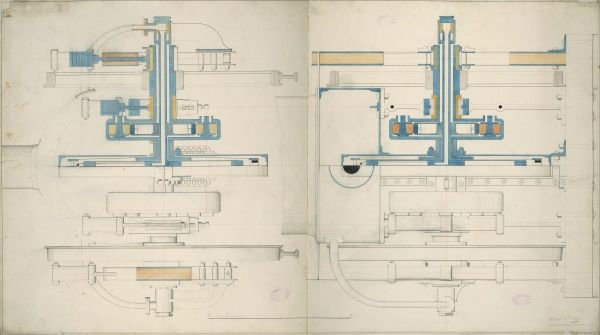 Locomotive engine, 6 foot 6 inch driving wheels, cross sections 3 April 1849 Date: 1849