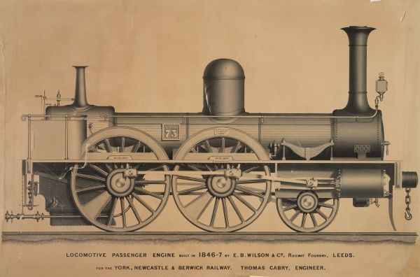 Locomotive passenger engine no 73, side elevation, built 1846-1847 to Stephenson's patent Date: 1847