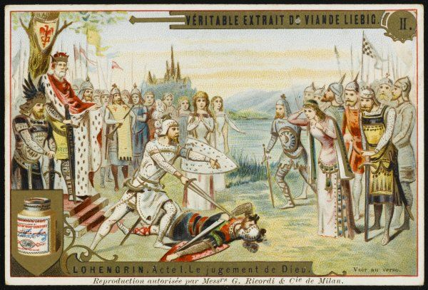 Elsa's honour is saved when the Knight of the Swan - Lohengrin, no less - defeats the evil Friedrich in single combat : they fall in love, inevitably
