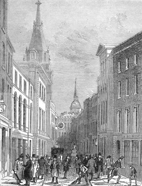 Engraving showing the view along Lombard Street in the City of London, 1849