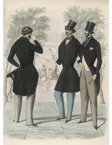 Trousers strapped under the instep, coat cut-away at the front with vent, side pleats & hip buttons, S-B waisted coat, pocket handkerchief, top hats, spurs & riding crops