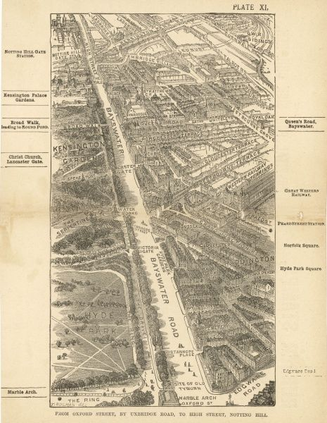 Bird's-eye view of London at the end of the 19th century : from Oxford Street, by Uxbridge Road, to High Street, Notting Hill