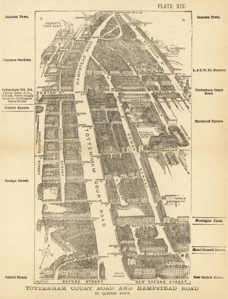 Bird's-eye view of London at the end of the 19th century : Tottenham Court Road and Hampstead Road to Camden Town