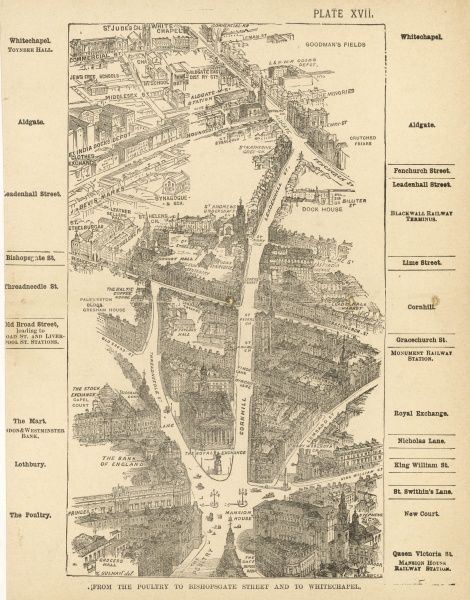 Bird's-eye view of London at the end of the 19th century : from the Poultry to Bishopsgate Street and to Whitechapel