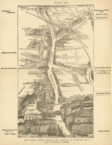 Bird's-eye view of London at the end of the 19th century : from London Bridge through the Borough, to Newington Butts and St George's Fields