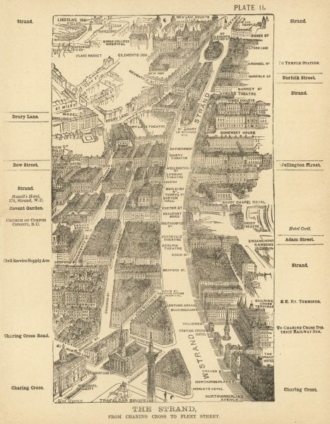 Bird's-eye view of London at the end of the 19th century : from Charing Cross to Fleet Street