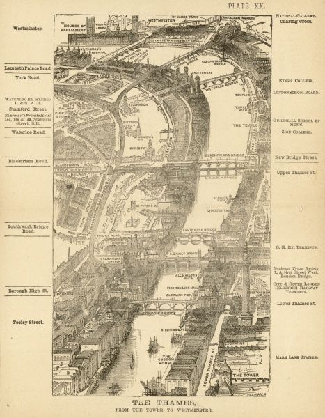 Bird's-eye view of London at the end of the 19th century : The Thames from the Tower to Westminster