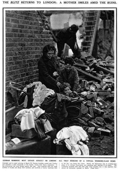 A mother smiles with her children amid the ruins of a typical working class home, following a bombing raid overnight and in the early morning on 20th March 1941. Date: March 1941